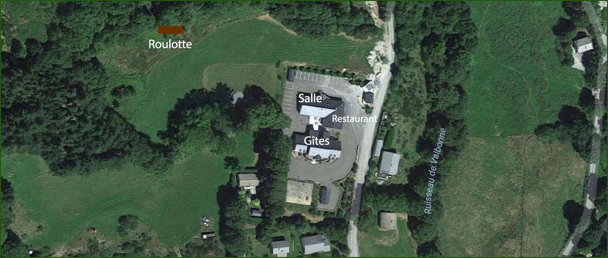 Gîtes d'étape et de séjour La Clairière. Vue Google maps